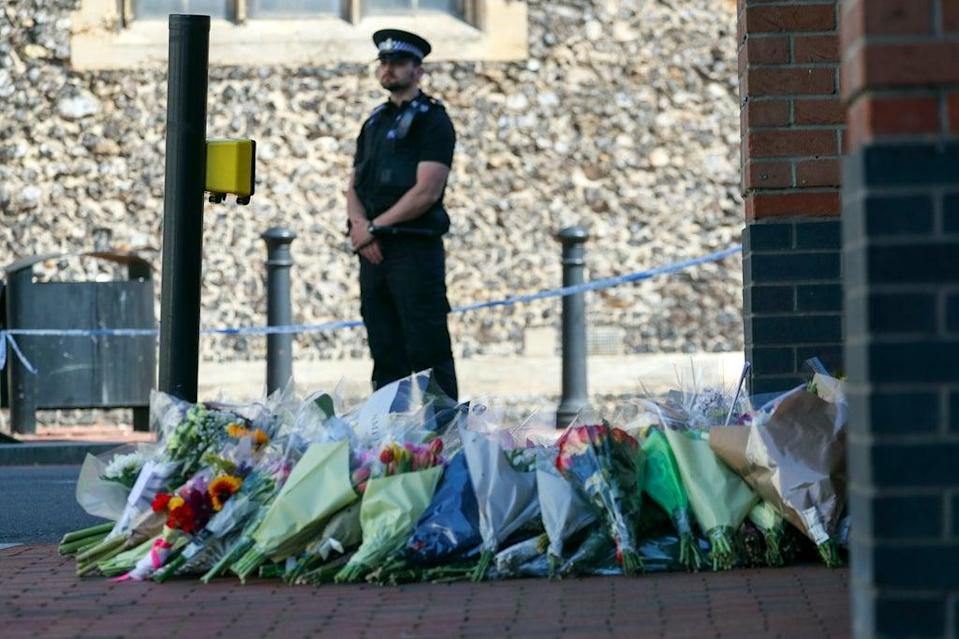 Floral tributes are left at Forbury Gardens, Reading, where the attack took place (Steve Parsons/PA) (PA Archive)