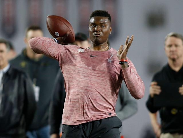 Dwayne Haskins is going to try and prove the Giants wrong. (AP Photo/Paul Vernon)