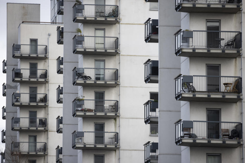 LONDON, ENGLAND - FEBRUARY 24: A general view of balconies at the Royal Artillery Quays on February 24, 2021 in London, England. Steve Day, of the Royal Artillery Quays Residents Association, is advocating for an amendment to the government's proposed Fire Safety Bill, meant to improve safety of residential buildings in the UK, many of which are still covered in flammable cladding that led to the 2017 Grenfell disaster. Mr Day warned that the current bill, as proposed, will allow building owners to pass on other safety costs beyond the replacement of cladding, pushing leaseholders