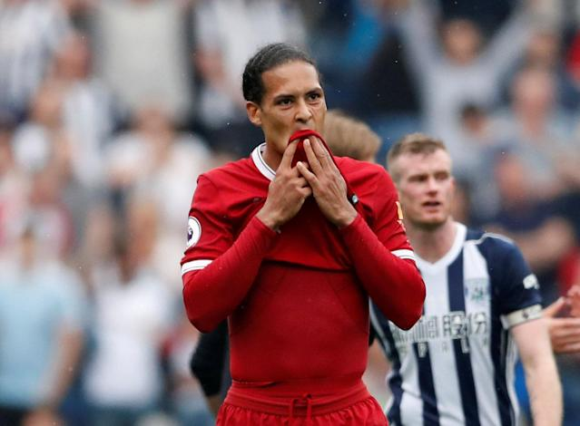 """Soccer Football - Premier League - West Bromwich Albion v Liverpool - The Hawthorns, West Bromwich, Britain - April 21, 2018 Liverpool's Virgil van Dijk looks dejected after the match Action Images via Reuters/Andrew Boyers EDITORIAL USE ONLY. No use with unauthorized audio, video, data, fixture lists, club/league logos or """"live"""" services. Online in-match use limited to 75 images, no video emulation. No use in betting, games or single club/league/player publications. Please contact your account representative for further details."""