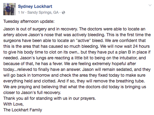 Jason Lockhart's sister, Sydney, gave an update on his condition Tuesday. (Screen shot via Sydney Lockhart's Facebook page)