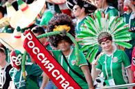 <p>Team Mexico's fans ahead of the 2018 FIFA World Cup First Stage Group F football match against Sweden at Ekaterinburg Arena Stadium. Sergei Bobylev/TASS (Photo by Sergei Bobylev\TASS via Getty Images) </p>