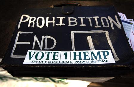A bag bearing a sticker supporting the Help End Marijuana Prohibition (HEMP) Party, is seen at the launch of their national election campaign in central Sydney