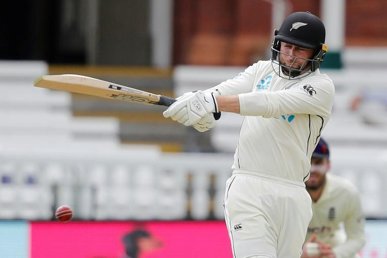 Hundred hero - New Zealand's Devon Conway hits out on his way to a debut century in the first Test against England at Lord's