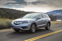 This undated photo provided by Acura shows the 2016 Acura RDX. Some notable features in higher trims of the vehicle are leather upholstery, navigation system, ventilated front seats, and front and rear parking sensors. (Wieck/American Honda Motor Co. via AP)