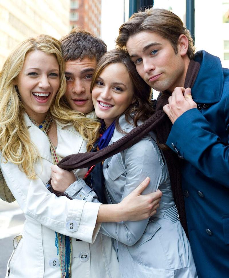 Blake Lively, Ed Westwick, Leighton Meester and Chace Crawford | K.C. Bailey/AP Photo/The CW