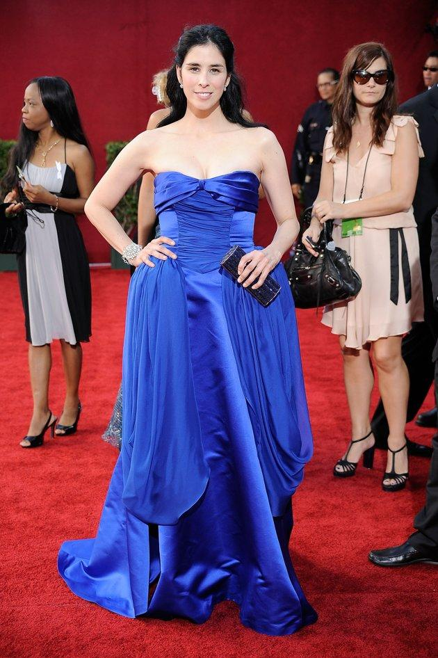 WORST: Sarah Silverman's dress at the 2009 Emmys looked like a tsunami was hitting the red carpet. It's a good thing she could lead the comic relief fundraiser. (By Frazer Harrison/Getty Images)
