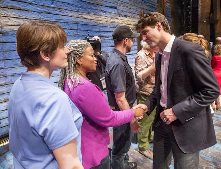 Prime Minister Justin Trudeau greeted attendants at a showing of Broadway's Come From Away. Photo from CP