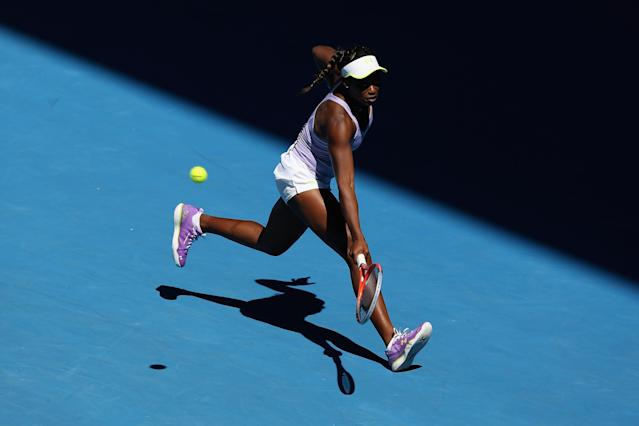 MELBOURNE, AUSTRALIA - JANUARY 24: Sloane Stephens of the United States of America plays a backhand in her Semifinal match against Victoria Azarenka of Belarus during day eleven of the 2013 Australian Open at Melbourne Park on January 24, 2013 in Melbourne, Australia. (Photo by Michael Dodge/Getty Images)