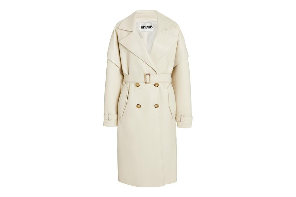 "$395, Moda Operandi. <a href=""https://www.modaoperandi.com/women/p/apparis/kiera-vegan-leather-trench-coat/434250"" rel=""nofollow noopener"" target=""_blank"" data-ylk=""slk:Get it now!"" class=""link rapid-noclick-resp"">Get it now!</a>"