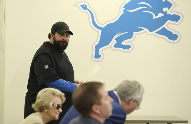 Detroit Lions head coach Matt Patricia looks towards team owner Martha Firestone Ford, left, general manager Bob Quinn, center, and president Rod Wood as he prepares to meet the media at the team's football training facility, Thursday, May 10, 2018, in Allen Park, Mich. Patricia addressed the 1996 sexual assault allegation against him which surfaced in media reports. (AP Photo/Carlos Osorio)