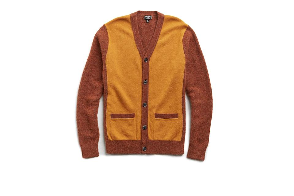 "$268, Todd Snyder. <a href=""https://www.toddsnyder.com/collections/sale/products/two-tone-cardigan-mustard"" rel=""nofollow noopener"" target=""_blank"" data-ylk=""slk:Get it now!"" class=""link rapid-noclick-resp"">Get it now!</a>"