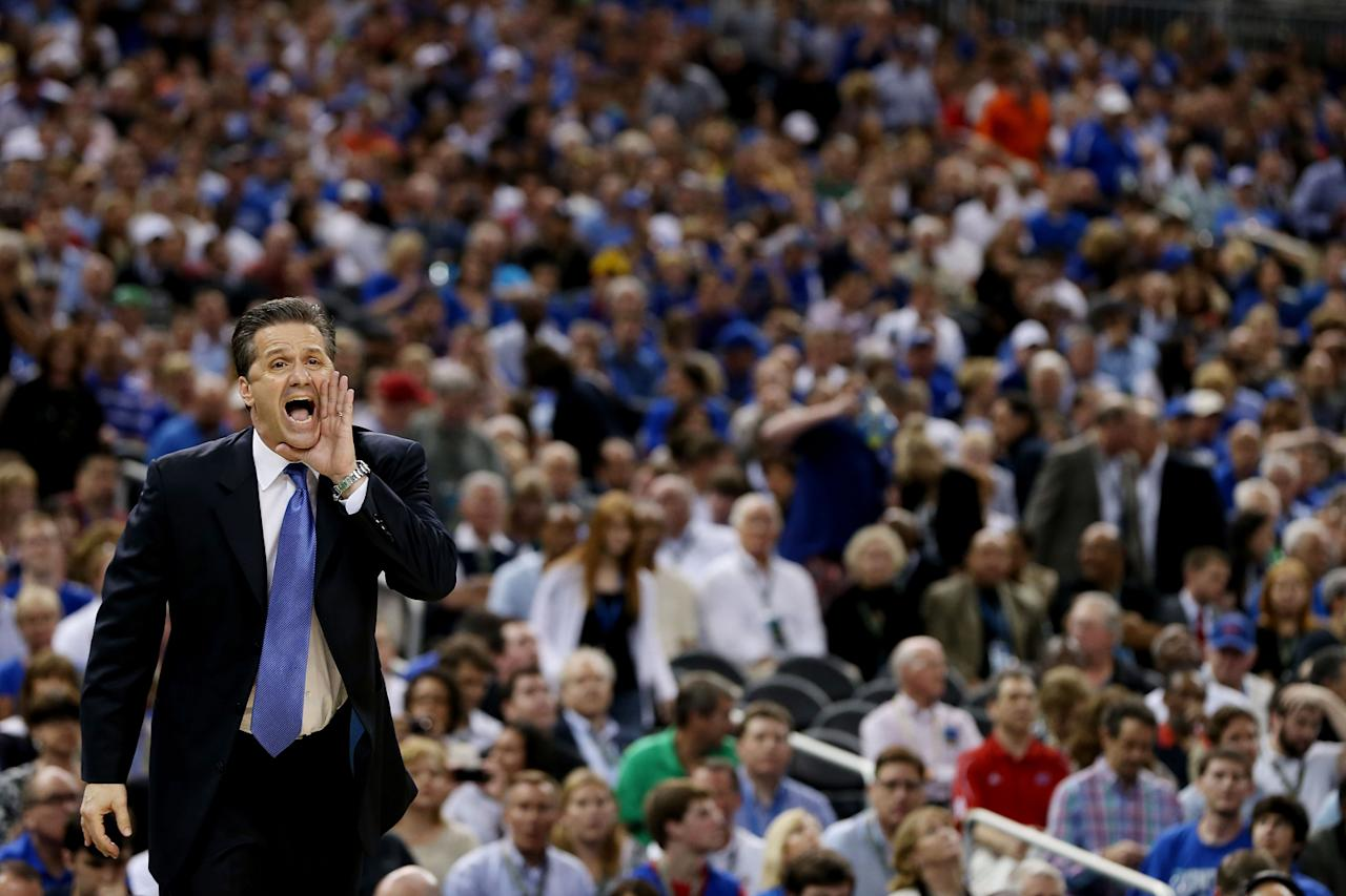 Head coach John Calipari of the Kentucky Wildcats reacts in the second half while taking on the Kansas Jayhawks in the National Championship Game of the 2012 NCAA Division I Men's Basketball Tournament at the Mercedes-Benz Superdome on April 2, 2012 in New Orleans, Louisiana. (Photo by Jeff Gross/Getty Images)
