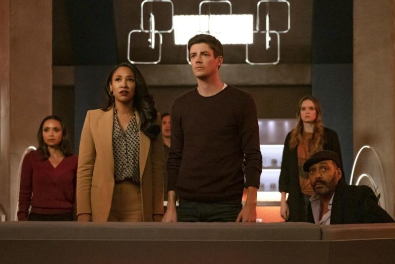 The Flash -- The Last Temptation of Barry Allen, Pt. 2 -- Image Number: FLA608a_0129r.jpg -- Pictured (L-R): Danielle Nicolet as Cecile Horton, Candice Patton as Iris West - Allen, Carlos Valdes as Cisco Ramon, Grant Gustin as Barry Allen, Danielle Panabaker as Caitlin Snow and Jesse L. Martin as Captain Joe West -- Photo: Katie Yu/The CW -- © 2019 The CW Network, LLC. All rights reserved | Katie Yu/The CW