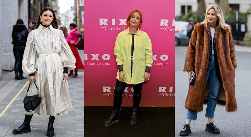 Black chunky boots were a popular choice of footwear at London Fashion Week. (Getty images)