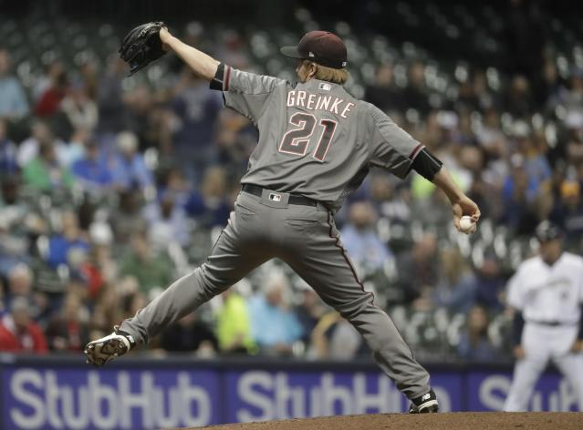 Arizona Diamondbacks starting pitcher Zack Greinke throws during the first inning of a baseball game against the Milwaukee Brewers Monday, May 21, 2018, in Milwaukee. (AP Photo/Morry Gash)