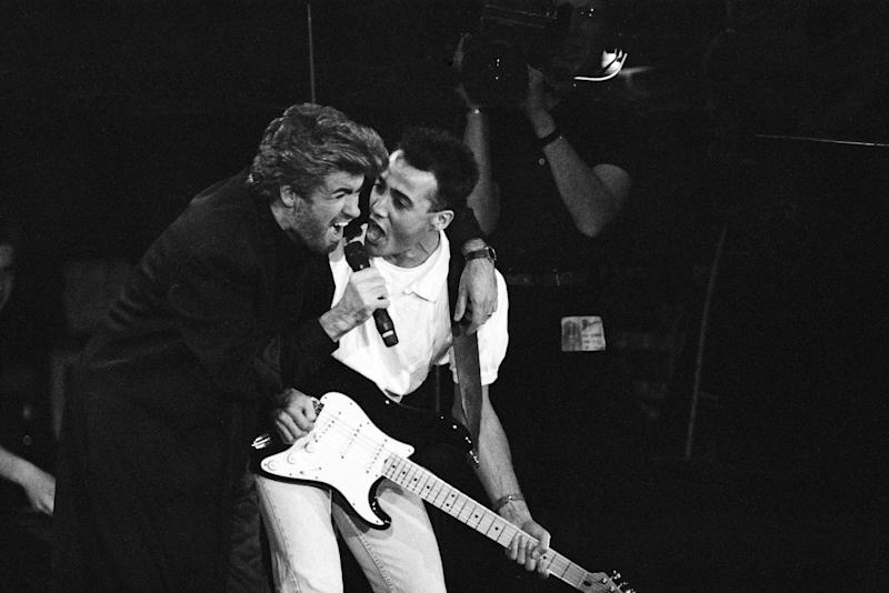 George Michael and Andrew Ridgeley performing at the Stand by Me: AIDS Day Benefit concert at Wembley Arena, London. 1st April 1987. (Photo by Nigel Wright/Mirrorpix/Getty Images)