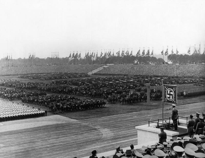 The Chancellor of the Third Reich Adolf Hitler holding a rally for the armed forces in the Luitpold arena crowded with people. Nuremberg, 12th September 1938 (Photo by Mondadori Portfolio via Getty Images)