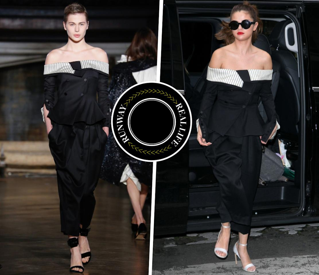 <p>There's a reason why Selena Gomez has become fashion current IT girl. Arriving in style, the 23-year-old singer was seen in a Fall 2016 shoulder baring Monse look while in Paris.<i>Photo: Runway (IMAXtree) & Celebrity (Getty Images)</i></p>