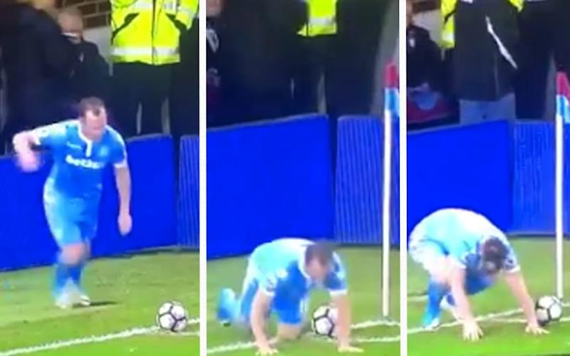 Charlie Adam completely botches the corner  - Twitter Premier League