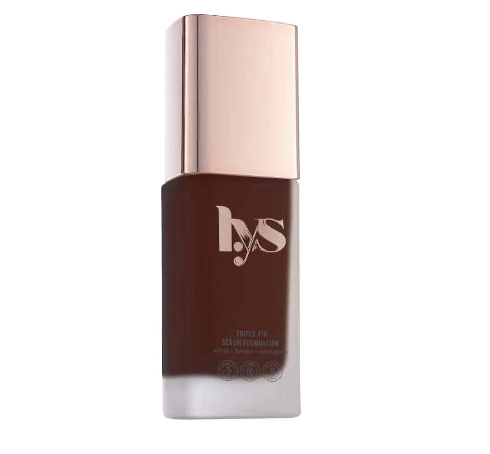"""<p><strong>LYS Beauty</strong></p><p>sephora.com</p><p><strong>$22.00</strong></p><p><a href=""""https://go.redirectingat.com?id=74968X1596630&url=https%3A%2F%2Fwww.sephora.com%2Fproduct%2Flys-beauty-triple-fix-serum-foundation-P468380&sref=https%3A%2F%2Fwww.womenshealthmag.com%2Fbeauty%2Fg36423990%2Fmakeup-with-skincare%2F"""" rel=""""nofollow noopener"""" target=""""_blank"""" data-ylk=""""slk:Shop Now"""" class=""""link rapid-noclick-resp"""">Shop Now</a></p><p>This hyaluronic acid–infused formula goes on like satin and evens out imperfections. Radiant! </p>"""