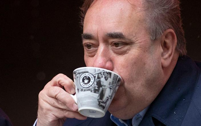 Alba Party leader Alex Salmond during a visit to the Scotsman Lounge in Edinburgh on the campaign trail for the forthcoming Scottish Parliamentary Election on May 6, 2021 - Jane Barlow/PA