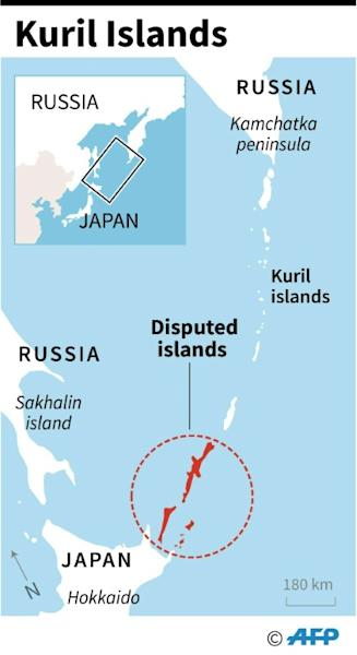Map showing the Kuril islands disputed by Japan and Russia