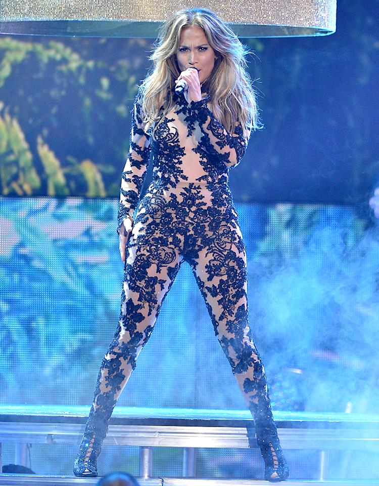 MIAMI, FL - JULY 18:  Jennifer Lopez performs onstage during the Premios Juventud 2013 at Bank United Center on July 18, 2013 in Miami, Florida.  (Photo by Rodrigo Varela/Getty Images for Univision)