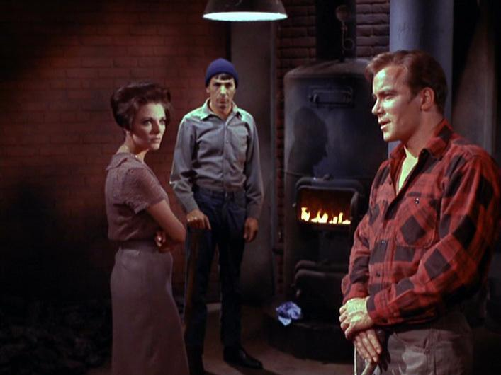 Joan Collins, Leonard Nimoy, and William Shatner in <i>Star Trek: The Original Series</i> episode <i>'The City on the Edge of Forever'</i> (CBS)
