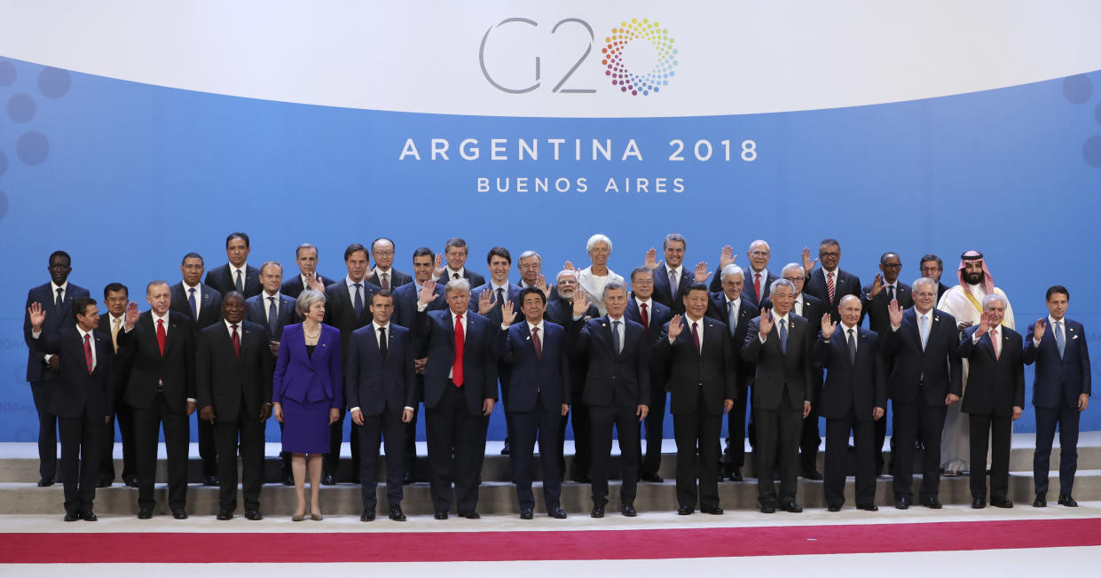 Leaders attending the G-20 Summit pose for the family photo at the Costa Salguero Center in Buenos Aires, Argentina, Friday, Nov. 30, 2018. (Photo: Ricardo Mazalan/AP)