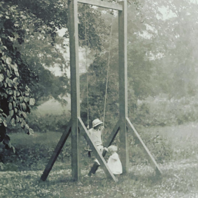 Charles Spencer shared this photo of his Aunt Anne playing with his father at Althorp House in 1925. Photo: Instagram/cspencer1508.