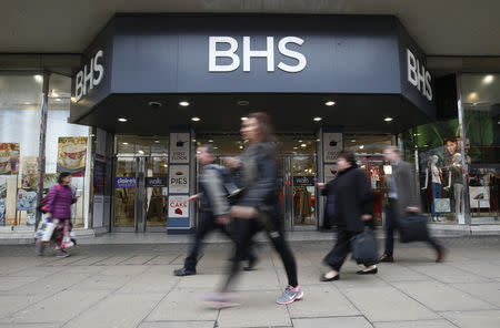 FILE PHOTO: People walk past a branch of BHS on Oxford Street in London
