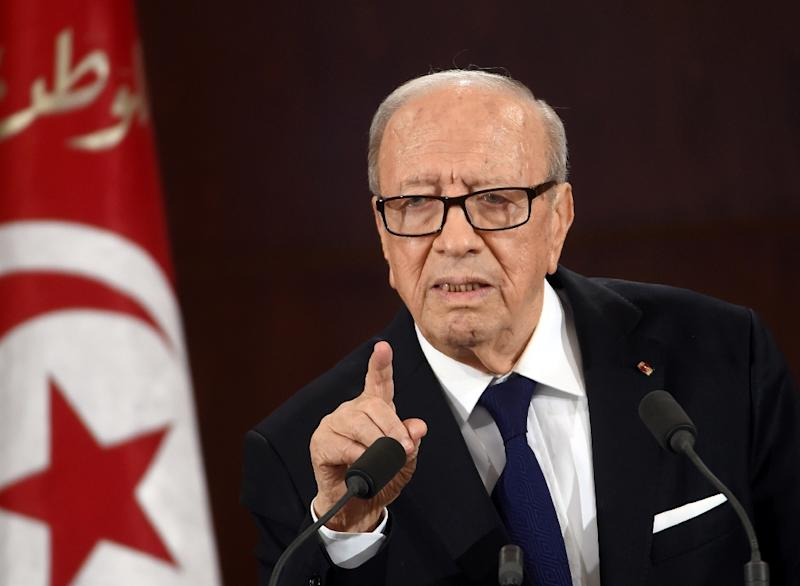 """""""There were failures"""" which meant that """"the police and intelligence were not systematic enough to ensure the safety of the museum"""", President Essebsi (pictured) told the Paris Match weekly in an interview published Saturday (AFP Photo/Fethi Belaid)"""