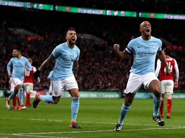 Vincent Kompany scored during the comprehensive 3-0 win on Sunday (Getty Images)