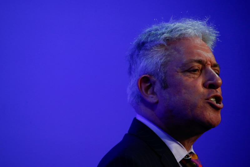 Former Speaker of the UK's House of Commons, John Bercow, delivers the keynote speech at a 'Parliament and Brexit' conference hosted by UK in a Changing Europe, in London, Britain March 10, 2020. REUTERS/Henry Nicholls