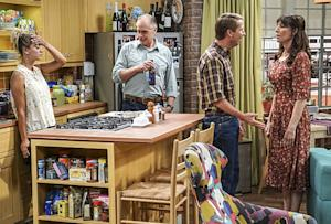 """""""The Conjugal Conjecture"""" -- Pictured: Penny (Kaley Cuoco), Wyatt (Keith Carradine), Randall (Jack McBrayer) and Susan (Katey Sagal). After Sheldon's mother and Leonard's father share an evening together, everyone deals with an awkward morning the next day. Also, Penny's family arrives for the wedding ceremony, including her anxiety-ridden mother, Susan (Katey Sagal), and her drug dealing brother, Randall (Jack McBrayer), on the 10th season premiere of THE BIG BANG THEORY, Monday, Sept. 19 (8:00-8:30 PM, ET/PT), on the CBS Television Network. Dean Norris guest stars as Colonel Williams, an Air Force Representative from the Department of Materiel Command. Christine Baranski, Laurie Metcalf, Judd Hirsch and Keith Carradine return. Photo: Monty Brinton/Warner Bros. Entertainment Inc. © 2016 WBEI. All rights reserved."""