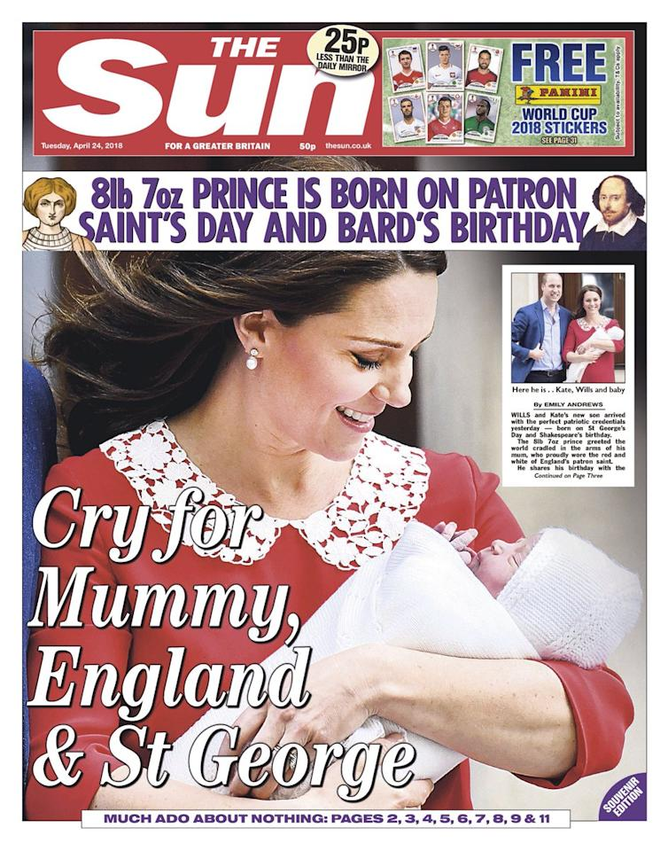 <p>The sun used a closeup of Princess Kate leaving the Lindo Wing. It was headlined 'Cry for Mummy, England and St George'. (The Sun) </p>