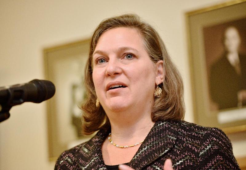US Assistant Secretary for European and Eurasian Affairs Victoria Nuland in Riga, Latvia on November 20, 2014 (AFP Photo/Ilmars Znotins)