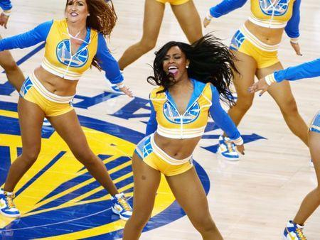 May 22, 2018; Oakland, CA, USA; Members of the Golden State Warriors dance team perform during the third quarter in game four of the Western conference finals of the 2018 NBA Playoffs against the Houston Rockets at Oracle Arena. Mandatory Credit: Kelley L Cox-USA TODAY Sports