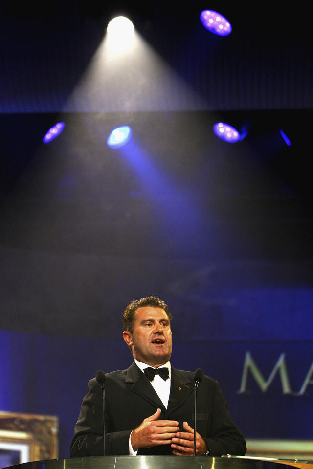 MELBOURNE, AUSTRALIA - FEBRUARY 07:  Mark Taylor a Hall of Fame Indcutee for 2011 at the Allan Border Medal held at Crown Palladium on February 7, 2011 in Melbourne, Australia.  (Photo by Robert Prezioso/Getty Images)