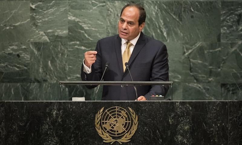 President Abdel Fattah al-Sisi addresses the UN general assembly last September, where he met Donald Trump for the first time.