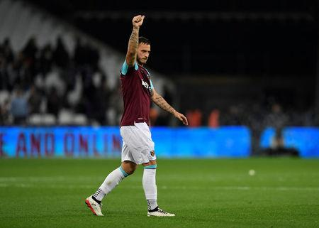 Soccer Football - Carabao Cup Third Round - West Ham United vs Bolton Wanderers - London Stadium, London, Britain - September 19, 2017  West Ham United's Marko Arnautovic celebrates after the match    Action Images via Reuters/Tony O'Brien