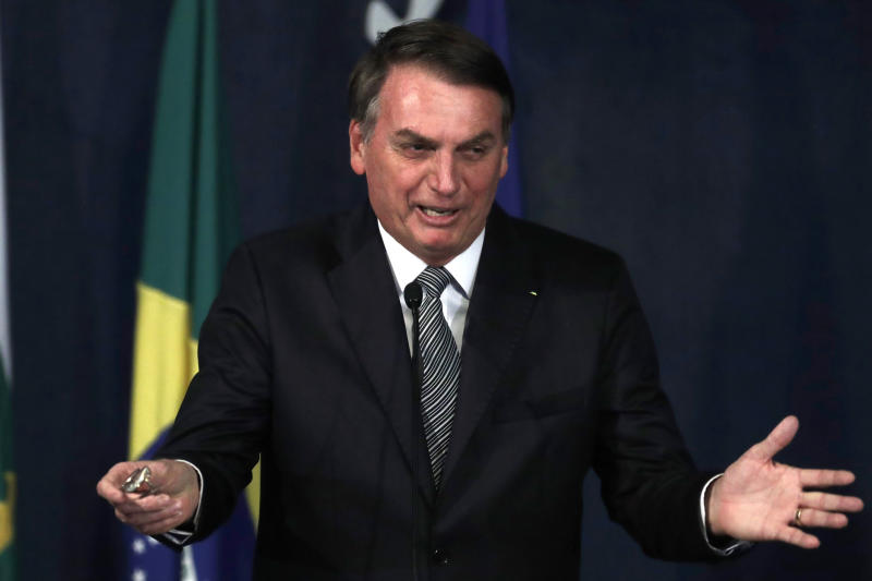 Brazil's President Jair Bolsonaro speaks during the presentation of the Brazil's new attorney general Augusto Aras, in Brasilia, Brazil, October 2, 2019. (AP Photo/Eraldo Peres)