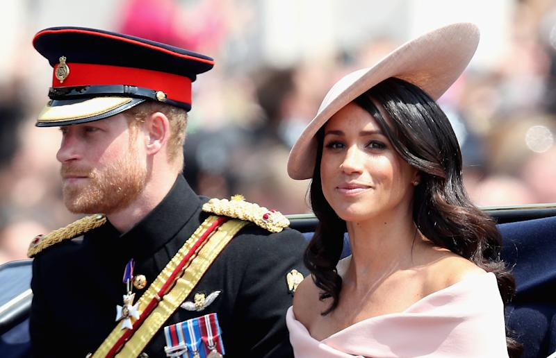 Prince Harry (left) and Meghan Markle at Trooping the Colour