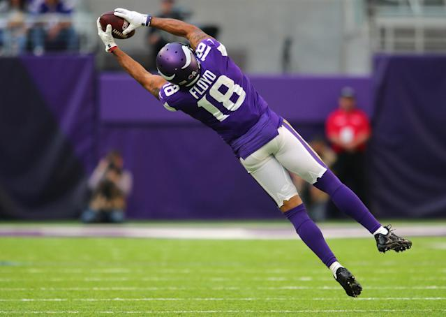 <p>Michael Floyd #18 of the Minnesota Vikings makes a leaping catch in the third quarter of the game against the Los Angeles Rams on November 19, 2017 at U.S. Bank Stadium in Minneapolis, Minnesota. (Photo by Adam Bettcher/Getty Images) </p>