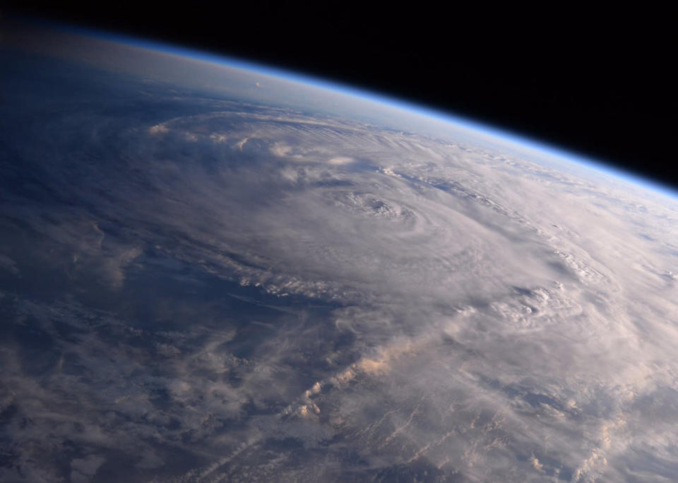 This photo made available by NASA shows Hurricane Harvey, seen from the International Space Station, over Texas on Aug. 26, 2017. (Photo: Randy Bresnik/NASA via AP)