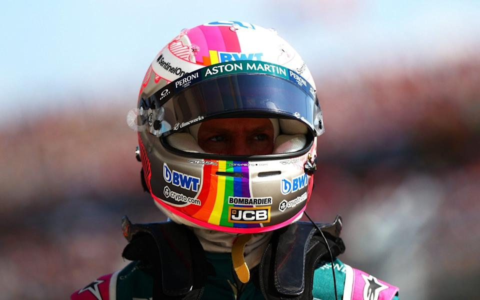 Sebastian Vettel of Germany and Aston Martin F1 Team looks on in parc ferme during qualifying ahead of the F1 Grand Prix of Hungary at Hungaroring on July 31, 2021 in Budapest, Hungary - Dan Istitene - Formula 1 via Getty Images