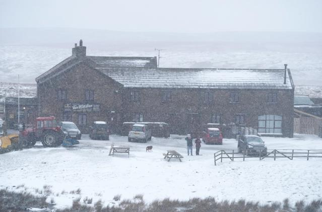 Snowy conditions at the Tan Hill Inn in Reeth in the Yorkshire Dales. (Photo by Owen Humphreys/PA Images via Getty Images)