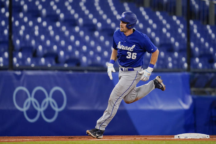 Israel's Ryan Lavarnway (36) rounds the basses after hitting a home run in the sixth inning of a baseball game against South Korea at the 2020 Summer Olympics, Thursday, July 29, 2021, in Yokohama, Japan. (AP Photo/Sue Ogrocki)