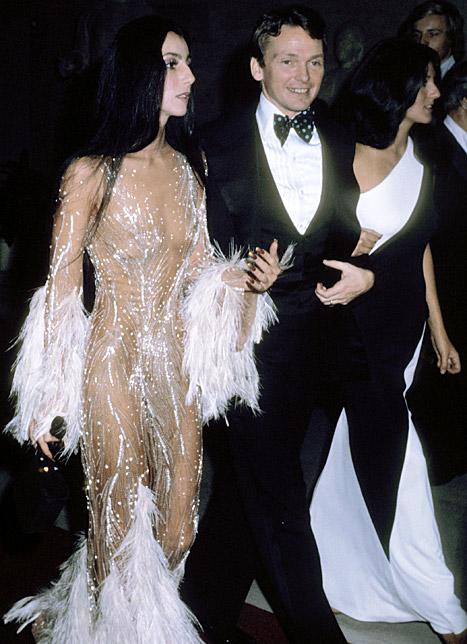 Cher and Bob Mackie attend the Met Gala in 1974